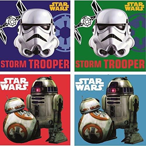 Star Wars: 4 er Set Gästetüch / Handtüch/ Gesichtstüch / Seiftüch /Seiflappen / Waschlappen 30x30 cm,