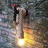 LINGJUN Vintage Rústico Lámpara de Pared con Bomilla E27 de Cuerda Hierro Forma de Tubería Decoración Restaurante Cafetería Bar Jardín Terraza
