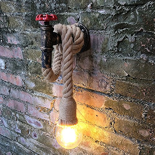 LINGJUN Vintage Lámpara Cuerda Cañamo Lámpara de Pared Apliques Decoración Restaurante Cafetería Bar Jardín Terraza
