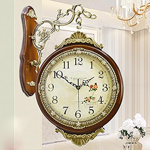 KHSKX Estilo europeo gran tamaño doble echó a un lado de la pared reloj cobre antiguo decorativo moderno creativo adecuado cuarzo reloj mesa salón reloj de jardín coffee 20 inches
