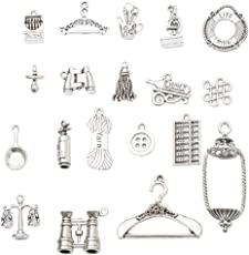 MagiDeal 19 Assorted Antique Silver Accessories Beads DIY Jewelry Charm Pendants Tags