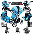 i-Safe System + iSOFIX Base - Ocean Trio Travel System Pram & Luxury Stroller 3 in 1 Complete With Car Seat + Footmuff + Carseat Footmuff + RainCovers by iSafe