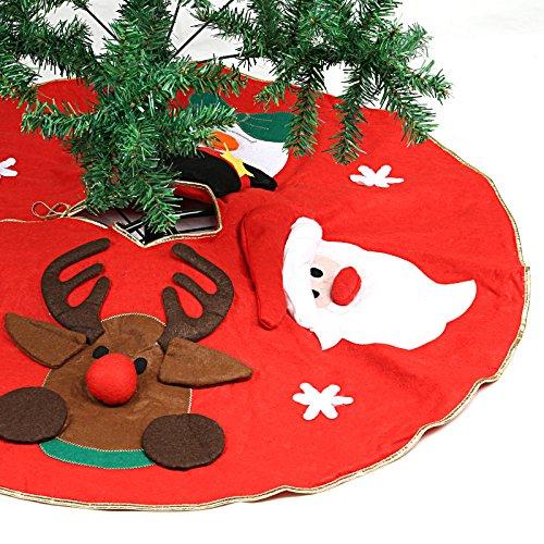 Delantal, falda para árbol, Naler Xmas, con diseño de Papá Noel, muñeco de nieve y renos para decoración de Navidad