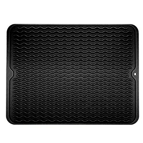 Matte Trocknung Küche (Premium Groß Silikon Abtropfmatte Abtropf Matte Boards Wärmeisolierung für Küche, Ofen, Mikrowelle, spülmaschinenfest, rutschfest 39,9x 30,5cm Schwarz)