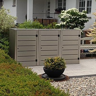 Abfalltonnenverkleidung Edelstahl, Modell Eleganza Line 120 Liter als Dreierbox