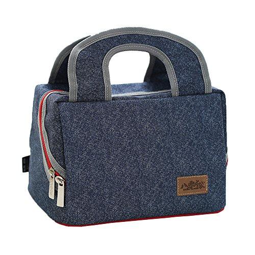 BUOU Tasche Portable Isolierte Denim Lunch Bag Thermische Lebensmittel Outdoor Mode Picknicktaschen Für Frauen Kinder Männer Kühler Lunchbox Tasche Tote (Blau-4) -