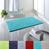 Dreamhome24 Weiche Rutschfeste Absorbierende Badezimmermatte Badematte Chenille Struppige 65x110 Badezimmer Flor Teppich Badteppich, Farbe:Oceanblue
