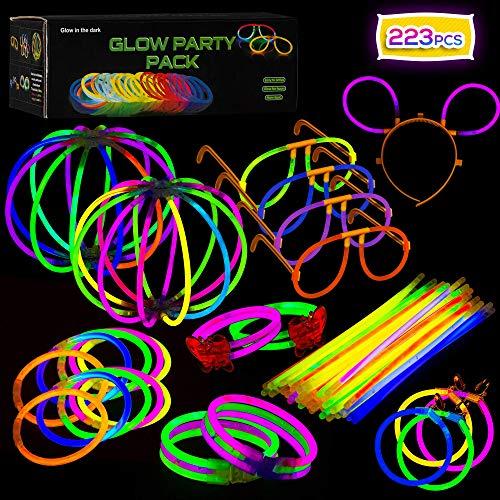 Imagen de paquete de fiesta de barritas luminosas con conectores  suministros de luces de colores para todo tipo de fiestas, cumpleaños y festivales | pulseras brillantes, pendientes y anteojos.