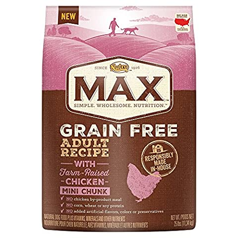 Nutro MAX Adult Grain Free With Farm Raised Chicken Mini Chunk Dry Dog Food, 25 lbs. by Nutro