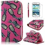PhoneCase Ananas Buchstil PU-Leder-Schutzhülle für Samsung Galaxy S3 mini orange/rosa/rot