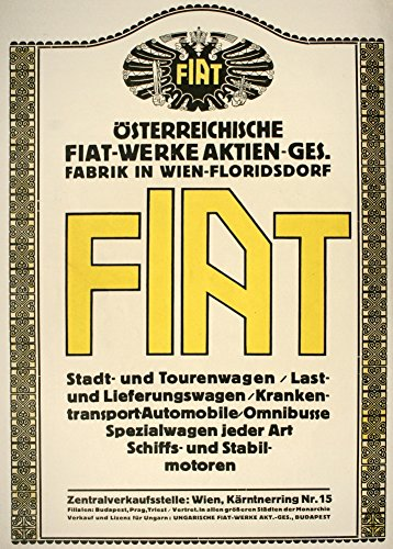 Vintage austrian ww1 1914-18 aviation fiat automobile produttori, e vienna floridsdorf cartolina illustrata, formato a3, 250 g/mq, riproduzione