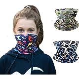 3pcs Printed Kids Reusable Washable Face Bandanas Kids Fashion Scarf Boys/Girls Mask 4-12 Years Old