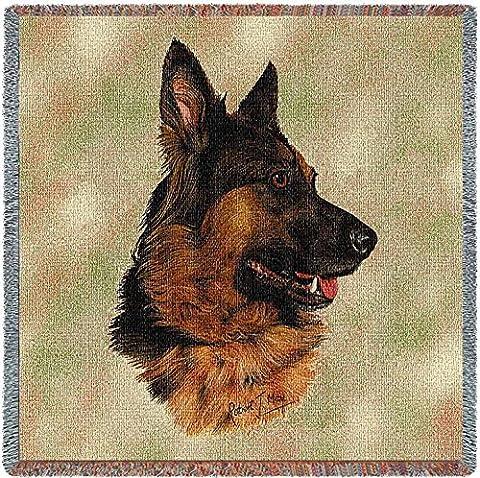 Pure Country 1126-LS German Shepherd Pet Blanket, Canine on Beige