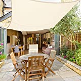 Greenbay Sun Shade Sail Outdoor Garden Patio Yard Party Sunscreen Awning Canopy 98% UV Block Rectangle Cream With Free Rope(4x3m)