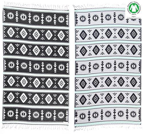 DESIGNER KOLLEKTION - Bersuse GOTS-Zertifiziert 100% Bio Baumwolle - Organic Türkisches Handtuch Peshtemal - Badestrand Fouta Pestemal - 95X175 cm(Schwarz/Mintgrün) (Bio-baumwolle Gerippt)