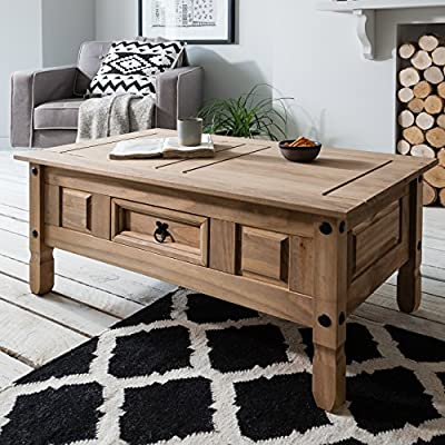 Corona Mexican Pine Coffee Table - Rustic Design with Drawer - inexpensive UK light shop.