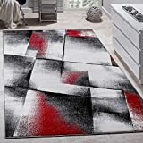 Alfombra De Diseño Para Sala De Estar Pelo Corto Rojo Gris Negro, Grösse:160x220 cm