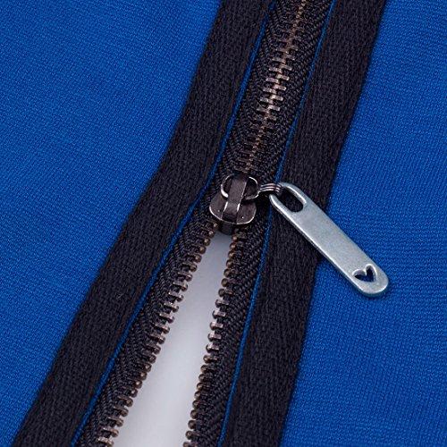 HOMEYEE Damen Rundhals Retro Cocktailkleid Rockabilly Party Abendkleid B235 Blau