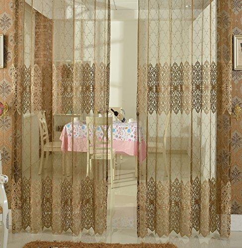 abcwoo Exquisite Design Home Dekoration einfachen Stil Spitze Sheer Vorhang Fenster Behandlung Voile Panel für Schlafzimmer Wohnzimmer Esszimmer und Küche (1Panel, W 52x l 213,4cm, weiß), Polyester-Mischgewebe, Brown2, 52W x 63L Inch, 1 Panel