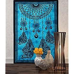 Turquesa Dream Catcher para colgar de la pared decoración Mandala tapiz Hippie dormitorio 84x 55pulgadas Aakriti galería
