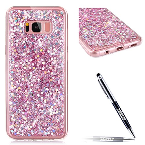 JAWSEU Samsung Galaxy S8 Coque Transparent Glitter,Samsung Galaxy S8 Etui en Silicone Clair avec Pailletee,Brilliante Bling Étoile Perles Soft Tpu Case Cover,Ultra Slim Sparkle Scintillant Flexible So rose/gliter