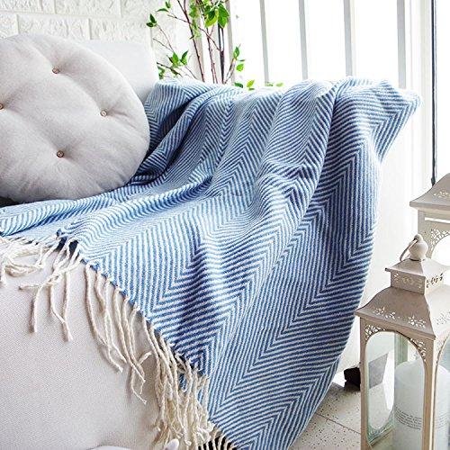 xysft Weiche Chenille Sofa Sitz Stuhl Kissen Decke Single Tiger Decke Bett Sofa Handtuch Decke Gap Quaste Fransen Überwurf Decke Sofa Stuhl, Tischdecke, blau, 130*170cm