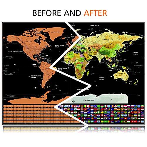 Mapa del Mundo  Vitutech Rasca el Mundo mapamundi para rascar Deluxe Travel Edición Rasca Mapa del mundo cartel personalizado 82.5x59.3cm
