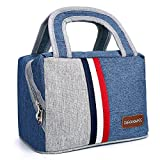 Insulated Lunch Box Tote Bag Freezable Lunch Bag Make Up Custodia da viaggio con tracolla amovibile per attività all' aria aperta (blu), Grande