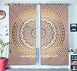 GANESHAM HANDICRAFTS - Goldene Mandala Tapisserie Vorhänge, Boho Vorhänge, Tapisserie Vorhänge, Mandala Fenster Behandlung, Boho Zigeuner Wohnheim Dekor indischen Vorhänge Tapisserie Vorhang