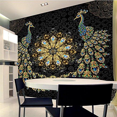 3D Wallpaper Wandbild Benutzerdefinierte Tapete Luxus Schwarz Gold Edelstein Pfau Hintergrund Tapeten 200Cmx150Cm