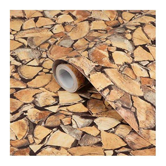 CVANU Self Adhesive Wood Grain Wallpaper Waterproof Old Furniture Vinyl Stickers Wooden Door Wardrobe Desktop PVC Wall Papers Cv44 12''x50''inch