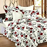 Story@Home Floral 120 TC 100% Cotton Double Bedsheet With 2 Pillow Covers, Red Rose Print