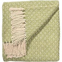 Plaid indien en coton tissé main TH136RD - Issu du commerce équitable -  Motif losanges - 4db3a54e669