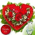 Rosenherz Ich liebe Dich mit Vase von FloraPrima - Du und dein Garten