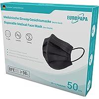 EUROPAPA® 50x Schwarz Medizinisch Type IIR Norm EN 14683 TÜV CE zertifizierte Mundschutzmasken OP Masken 3-lagig…