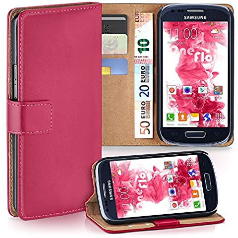 Samsung Galaxy S3 Mini Hülle Pink mit Karten-Fach [OneFlow 360° Book Klapp-Hülle] Handytasche Kunst-Leder Handyhülle für Samsung Galaxy S3 Mini S III Case Flip Cover Schutzhülle