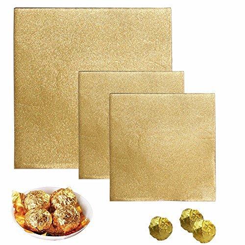 Senhai 300Stück Aluminium-Candy Wrappers, 200Stück 10,2x 10,2cm, 10015,2x 15,2cm, Schokolade Wrapper für Verpackung-Gold (Schokolade Gold)