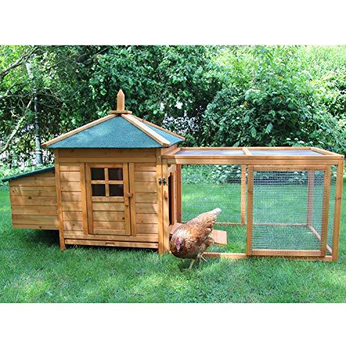 *zoo-xxl Hühnerhaus Hühnerstall Hühnervoliere Helma ca. 194.00 x 73 x 98.00 cm mit Freilauf mit Nistkasten für draußen*