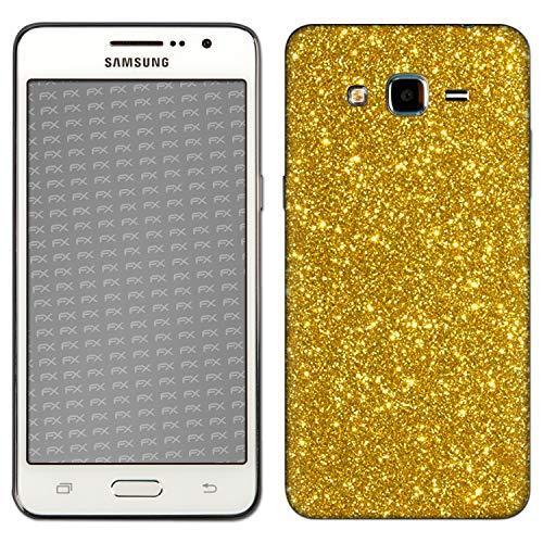 atFolix Skin kompatibel mit Samsung Galaxy Grand Prime, Designfolie Sticker (FX-Glitter-Gold-Rush), Reflektierende Glitzerfolie -