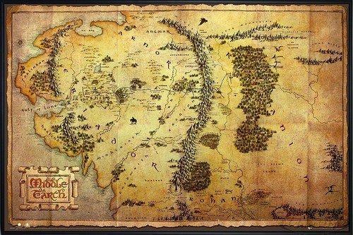 Close Up The Hobbit Poster Karte von Mittelerde (62x93 cm) gerahmt in: Rahmen schwarz