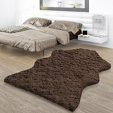 Descente de lit casa pura® Maja marron | doux et lavable | tapis de salon | hauteur du poil long env. 7cm | 2 tailles, 60x90cm