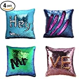 YQing Mermaid Sequin Pillow Case - 4 Pack Mermaid Pillow Case 16x16 inches Reversible Sequin Cushion Covers, Colour Change Glitter sequin pillow Cover for Decoration