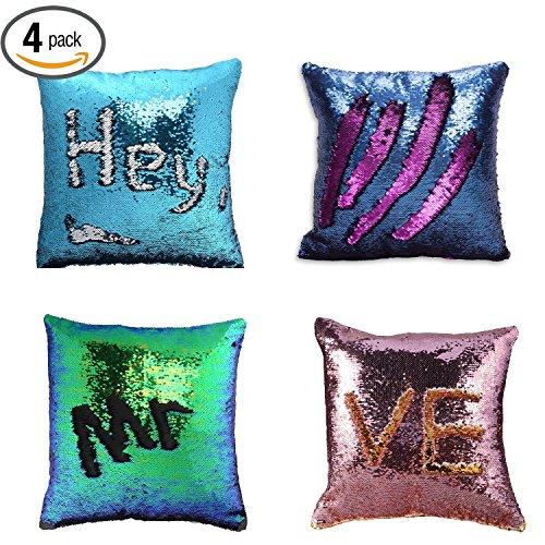 Cuscini paillettes reversibili cuscini colorati - yqing cuscino paillettes federa paillettes per decorazioni glitter cuscini fodere per cuscini per camera da letto divano (4 pezzi)