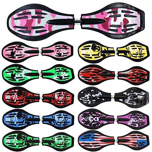 FunTomia® - Waveboard, con ruedas ABEC-11, incluye bolsa de transporte y CD, disponible en diseños de varios colores. (rosa / ejército)