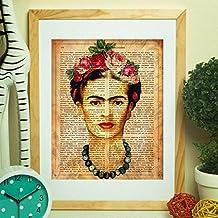 Lámina para enmarcar Frida Kahlo con la definición de creatividad. Poster con imágenes de Frida Kahlo con fondo marrón y definiciones. Lámina de la mítica pintora Frida Kahlo. Lámina definiciones. Decoración de hogar. Láminas para enmarcar. Papel 250 gramos alta calidad