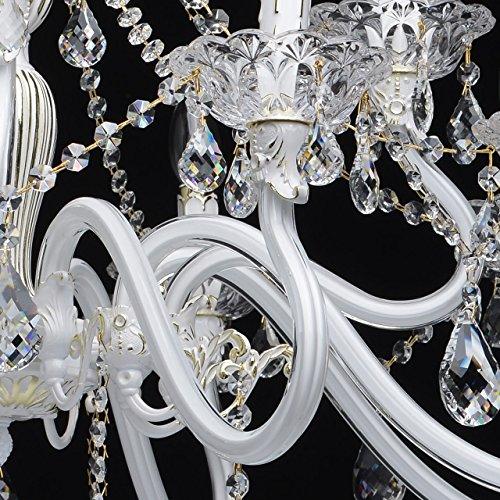 Kronleuchter klassisch Glas Metall weiß und goldfarbig 12-armig Ø82cm - 8