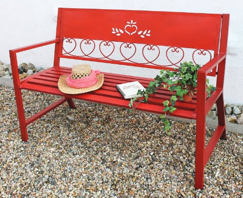 DanDiBo Gartenbank Passion Rot 121495 Bank Sitzbank 120cm aus Metall Eisen Blumenbank Garten