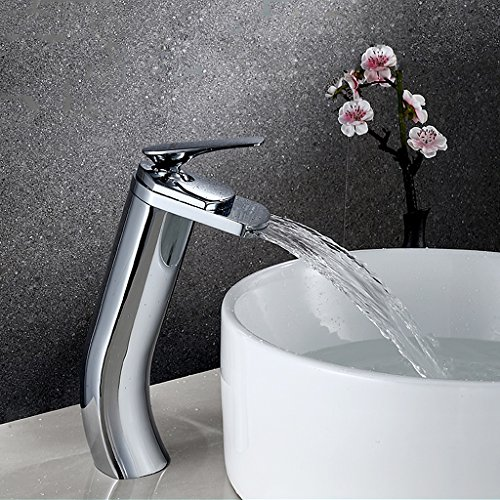 Waschbecken Wasserhahn Wasserfall Auslauf Single Griff EIN Loch Wasserhahn mit Versorgung Schlauch Flacher Auslauf für kommerzielle Wasserhahn 11-Zoll-Erhöhung Deck Mount Toilette, Messing Chrom -