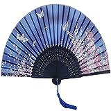 Honearn Chinesischer Stil Weiß Schmetterling Rosa Blume Spitze Bambus Faltbar Handfächer Fächer Blau