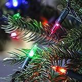 Lights4fun 150er Bunte LED Weihnachtsbaum Lichterkette 14,85m dunkelgrünes Kabel Fernbedienung Timer